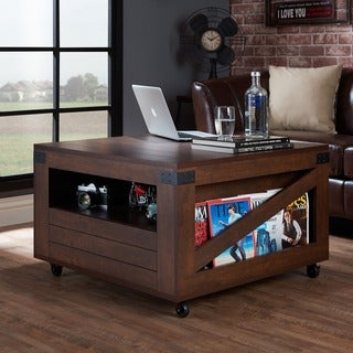Furniture of America Kala Modern Walnut Wood Square Coffee Table