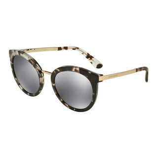 D&G Women's DG4268 28886G Grey Plastic Round Sunglasses