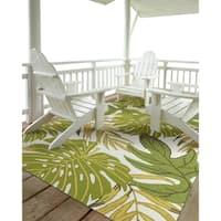 Indoor/Outdoor Beachcomber Leaves Green Rug - 3' x 5'