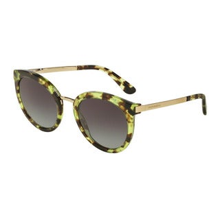 D&G Women's DG4268 29708G Green Plastic Round Sunglasses