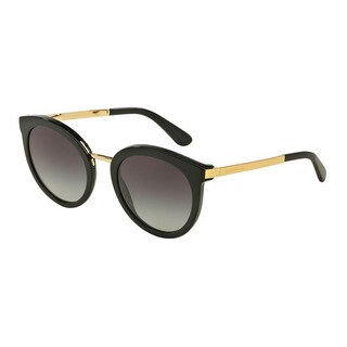 D&G Women's DG4268 501/8G Black Plastic Round Sunglasses