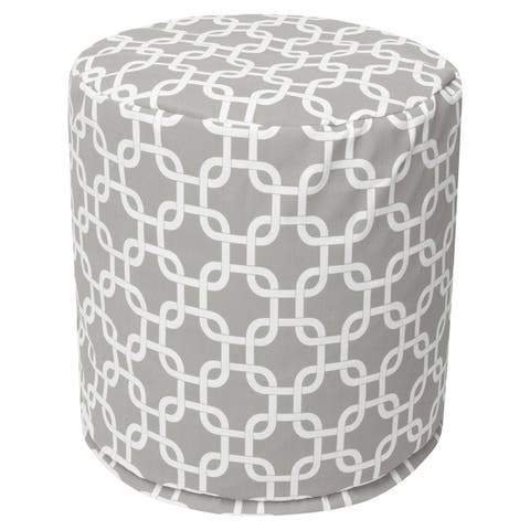 """Majestic Home Goods Links Indoor / Outdoor Ottoman Pouf 16"""" L x 16"""" W x 17"""" H"""