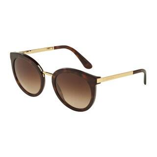 D&G Women's DG4268 502/13 Havana Plastic Round Sunglasses