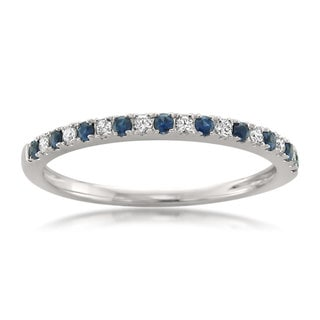 Montebello Jewelry 14k White Gold Blue Sapphire and 1/3ct TDW White Diamond Wedding Band