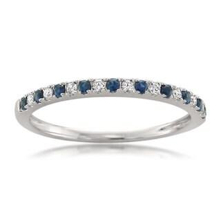 Montebello 14KT White Gold 1/5ct TGW Blue Sapphire and 1/10ct TDW Diamond Wedding Band