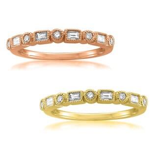 Montebello Jewelry 14k Gold 1/4ct TDW White Diamond Vintage-Style Milgrain Wedding Band (H-I, SI1-SI2)