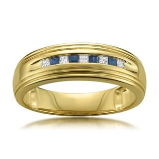 Montebello Jewelry 14k Yellow Gold Men's 1/4ct Blue Sapphire and 1/6ct TDW Diamond Wedding Band (H-I, I1-I2)