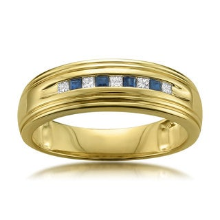 Montebello Jewelry 14k Yellow Gold Men's 1/4ct Blue Sapphire and 1/6ct TDW Diamond Wedding Band