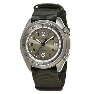Hamilton Men's H80405865 'Khaki Aviation' Green Dial Green Nylon Strap Pilot Pioneer Aluminum Swiss Automatic Watch https://ak1.ostkcdn.com/images/products/11821172/P18726974.jpg?impolicy=medium