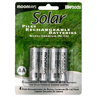 Moonrays 97125 AA Rechargeable NiCd Batteries For Solar Powered Units 4Ct