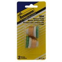 Bussmann  Time Delay Plug Fuse  30 amps 125 volts 1.16 in. Dia. 2 pk For Small Motor Overload Protection
