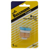 Bussmann  T-Type Plug  8 amps 125 volts 1 pk For Small Motor Overload Protection