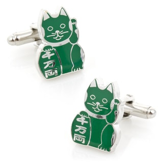 Silver Overlay Family 'Maneki Neko' Lucky Cat Cufflinks