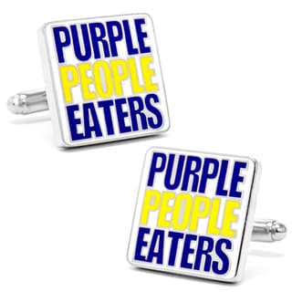 Silver Overlay Vikings 'Purple People Eaters' Cufflinks