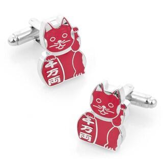 Silver Overlay Healthy 'Maneki Neko' Lucky Cat Cufflinks