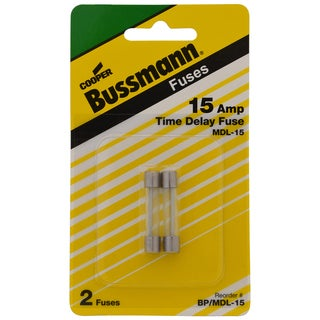 Bussman BP/MDL-15 15 Amp Glass Tube Time Delay Fuse (Set of 2)