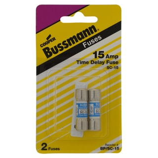 Bussman BP/SC-15 15 Amp Midget Cartridge Time-Delay Rejection Fuse 2-count
