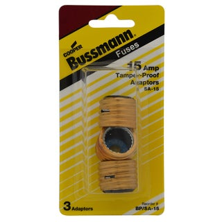 Bussmann Type S Fuse Adapter 15 amps 125 volts 1-3/16 in. Dia. x 1-1/4 in. L 3 pk For Converting Edison Base Fuse Sockets