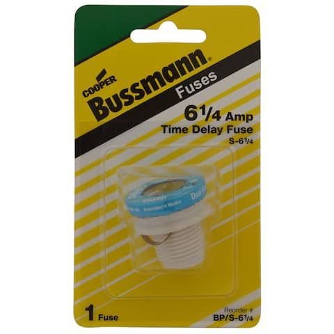 Bussmann Type S Plug Fuse 6.25 amps 125 volts 1-5/16 in. Dia. 1 pk For Residential Load Centers