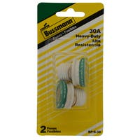 Bussmann  Type S Plug Fuse  30 amps 125 volts 1.16 in. Dia. x 1.25 in. L 2 pk For Time Delay