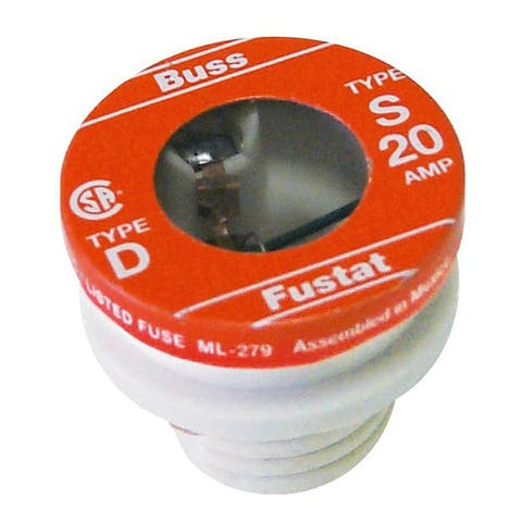 Bussmann Plug Fuse 20 amps 125 volts 1.16 in. Dia. x 1.25 in. L 2 pk For Residential Load Centers