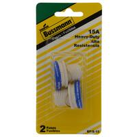Bussmann  Plug Fuse  15 amps 125 volts 1.16 in. Dia. x 1.25 in. L 2 pk For Residential Load Centers