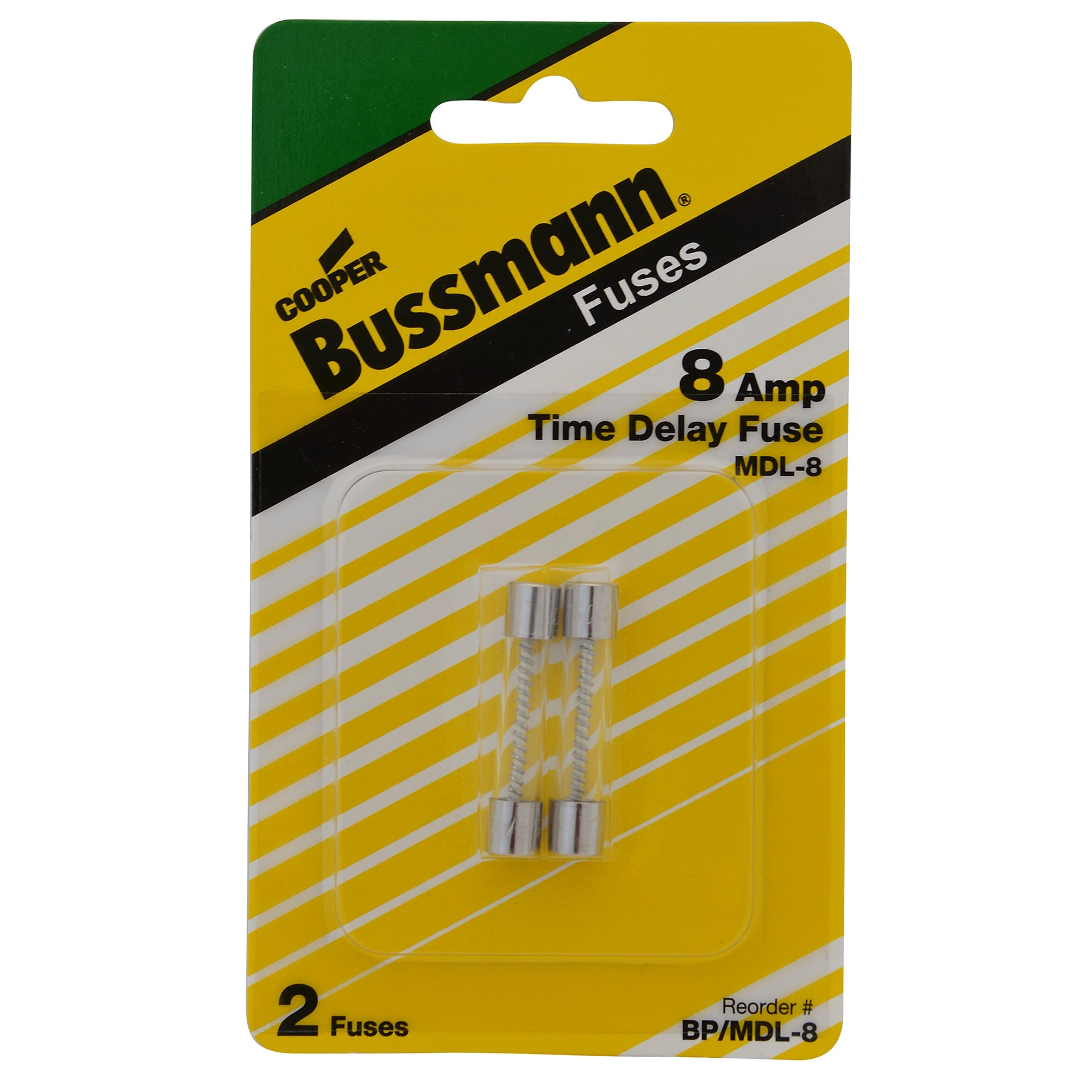 Bussmann n Time Delay Glass Fuse 8 amps 250 volts 1/4 in....
