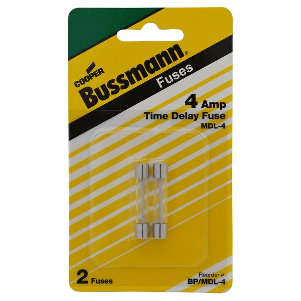 Bussmann Time Delay Glass Fuse 4 amps 250 volts 1/4 in. Dia. x 1-1/4 in. L 2 pk For Electronic Circuits