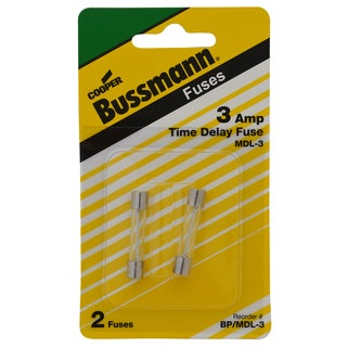 Bussman BP/MDL-3 3 Amp Glass Tube Time Delay Fuse 2-count