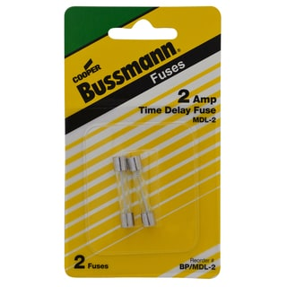 Bussman BP/MDL-2 2 Amp Glass Tube Time Delay Fuse (Set of 2)
