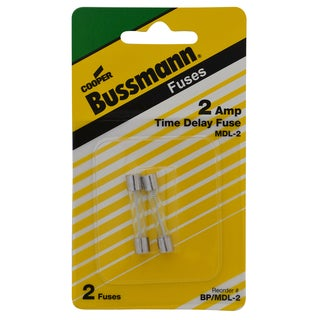 Bussman BP/MDL-2 2 Amp Glass Tube Time Delay Fuse (Set of 2)