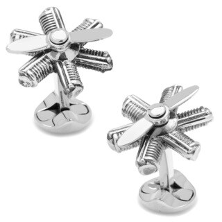 Silver Overlay Moving Plane Engine Cufflinks