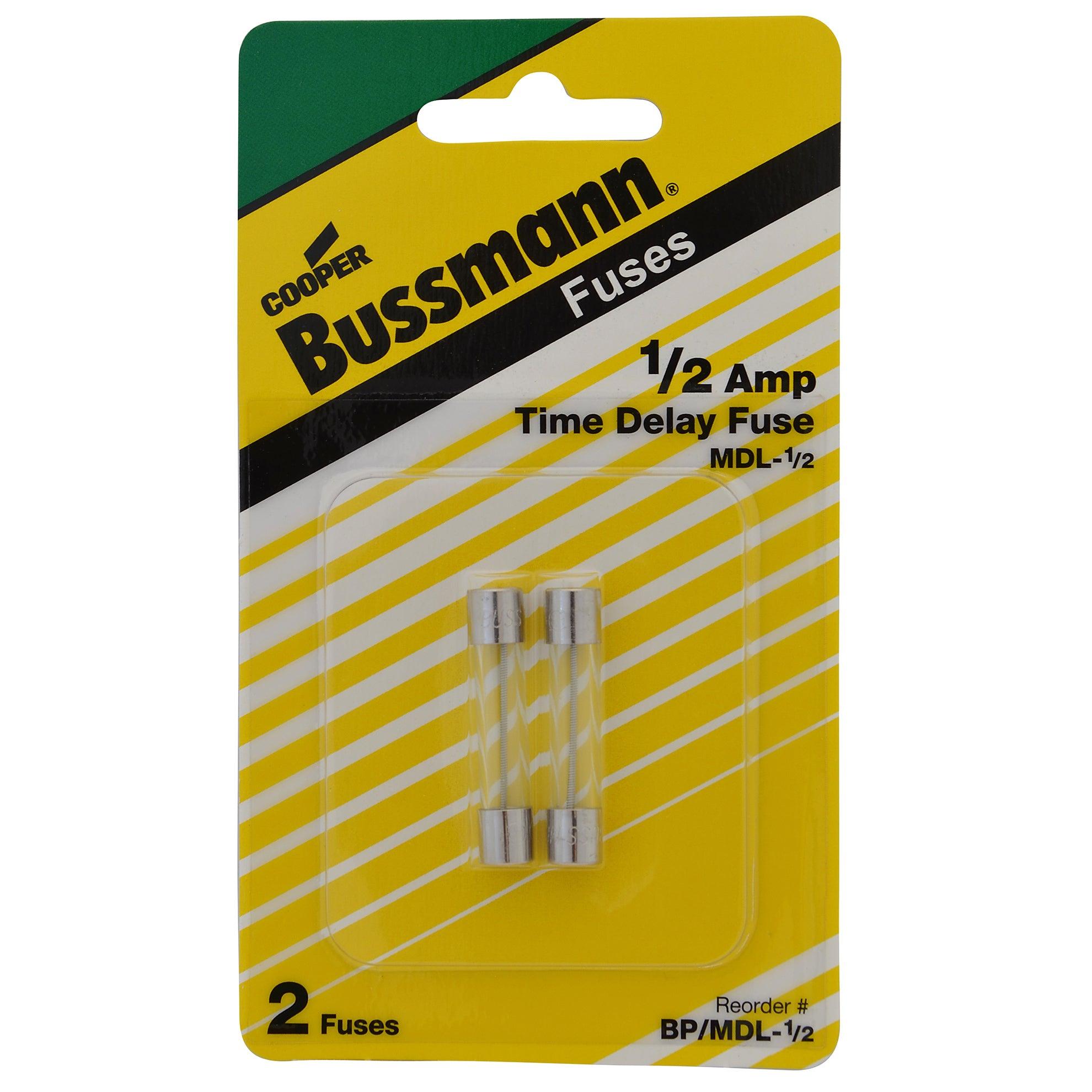 Bussmann BP/MDL-1/2 1/2 Amp Glass Tube Time Delay Fuse 2-...