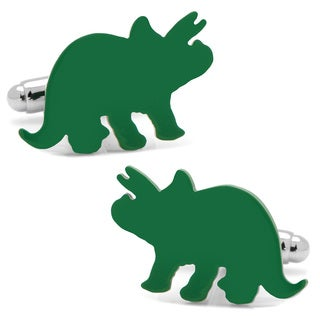 Silver Overlay Green Triceratops Cufflinks