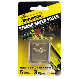 Bussmann Glass Tube Fuse 3 amps 125 volts 5 pk For Year Round Holiday Light