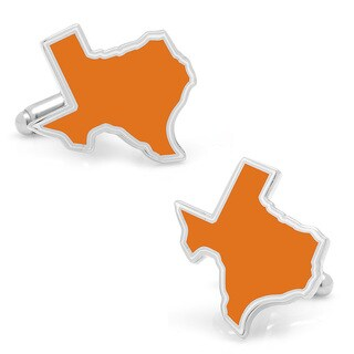 Silver Overlay Orange Texas Cufflinks