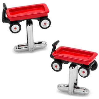 Silver Overlay Red Wagon Cufflinks