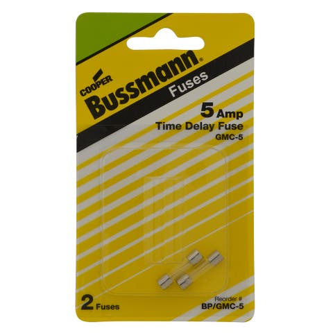 Bussmann Time Delay Glass Fuse 5 amps 250 volts 5 mm Dia. x 20 mm L 2 pk For Electronic Circuits
