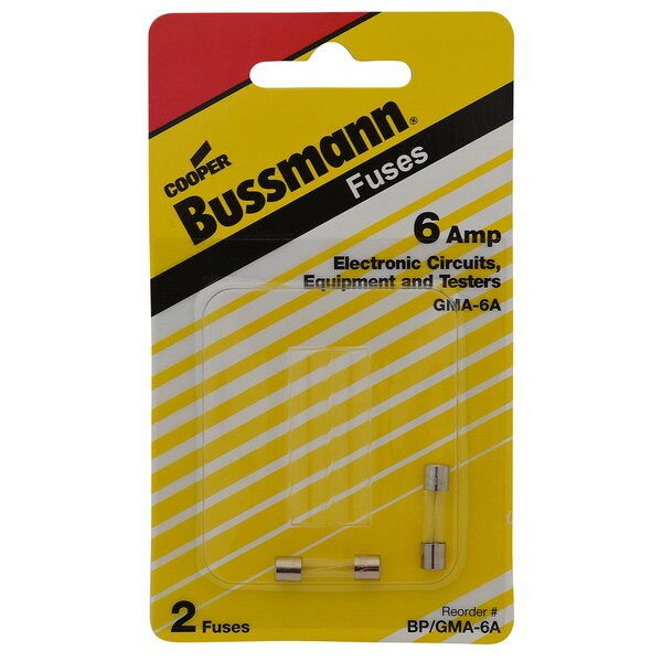 Bussmann Fast Acting Glass Fuse 6 amps 250 volts 5 mm Dia. x 20 mm L 2 pk For Electronic Circuits