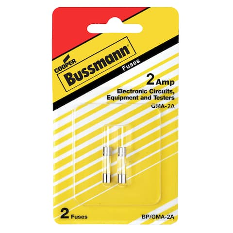 Bussmann Fast Acting Glass Fuse 2 amps 250 volts 5 mm Dia. x 20 mm L 2 pk For Electronic Circuits
