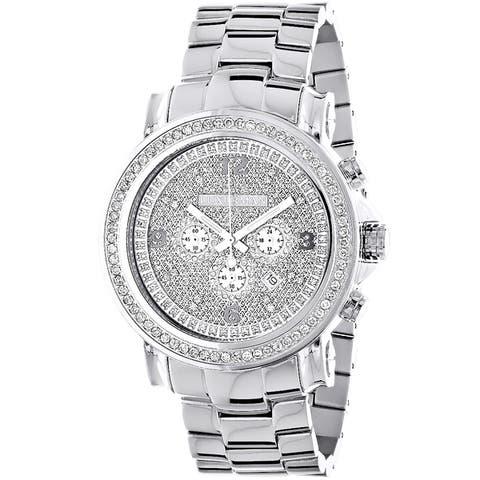 Luxurman Men's Escalade Large Iced Out 2.5-carat Diamond Bezel Chronograph Watch
