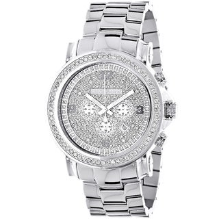 Luxurman Men's Escalade Large Iced Out 2.5-carat Diamond Bezel Chronograph Watch