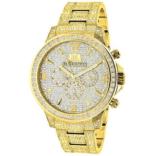 Luxurman Men's Liberty Iced-out 3-carat Diamond Yellow-gold-plated Watch