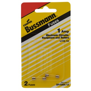 Bussmann Fast Acting Glass Fuse 1 amps 250 volts 5 mm Dia. x 20 mm L 2 pk For Electronic Circuits