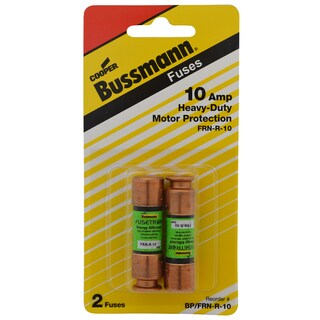 Bussmann Dual Element Time Delay Fuse 10 amps 250 volts 0.56 in. Dia. x 2 in. L 2 pk For Motor Control Centers