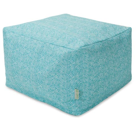 Majestic Home Goods Indoor Outdoor SouthWest Ottoman Pouf 27 in L x 27 in W x 17 in H