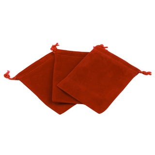 Red Velour Large Gift Pouch Set of 3