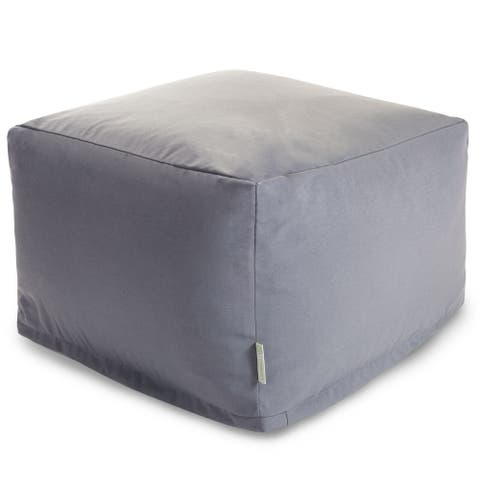 Majestic Home Goods Indoor Outdoor Grey Solid Ottoman Pouf 27 in L x 27 in W x 17 in H