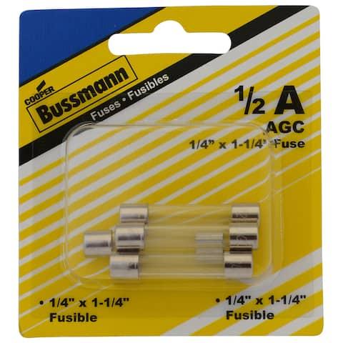 Bussman BP/AGC-1/2-RP 1/2 Amp Glass Fuse 5-count