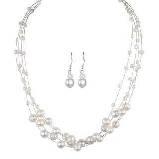 Floating Freshwater Cultured Pearl Necklace And Earring Set